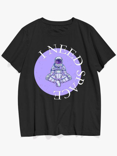 I NEED SPACE Astronaut Pattern Graphic T-shirt - Black L