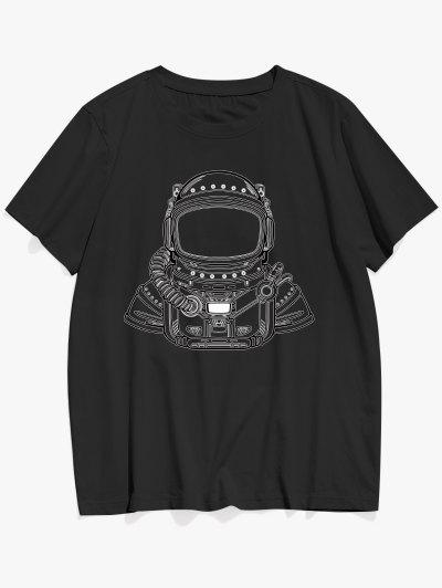 Basic Astronaut Figure Pattern T-shirt - Black L
