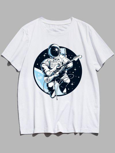Playing Guitar Astronaut Print Graphic Tee - White M