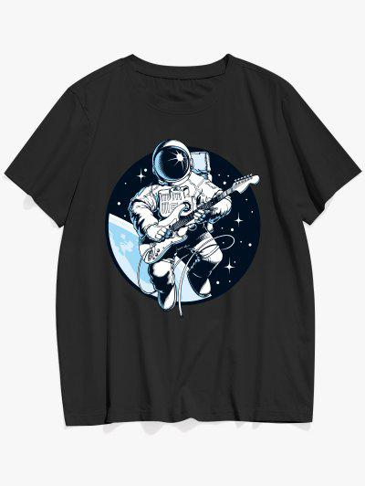 Playing Guitar Astronaut Print Graphic Tee - Black L