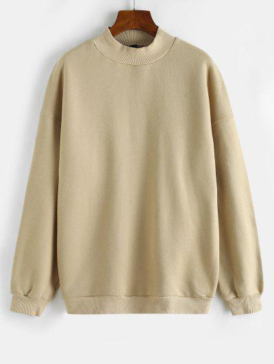 Mock Neck Fleece Lined Sweatshirt - Light Coffee L