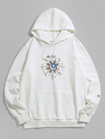 ZAFUL Celestial Sun Moon And Star Pattern Hoodie - White M
