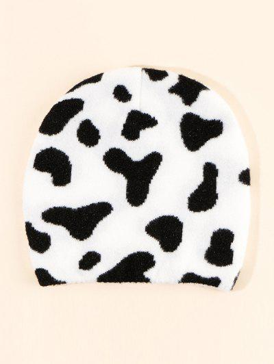 Cow Pattern Knitting Hat - Milk White