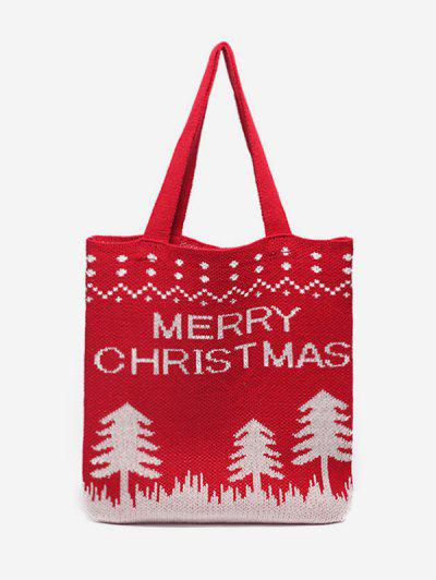 Christmas Tree Knitted Tote Bag - Lava Red