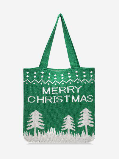 Christmas Tree Knitted Tote Bag - Clover Green