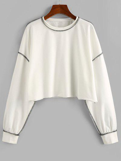 ZAFUL Contrast Stitching Crop Sweatshirt - White L