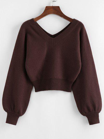 ZAFUL Raglan Sleeve Double V Neck Short Sweater - Deep Coffee L