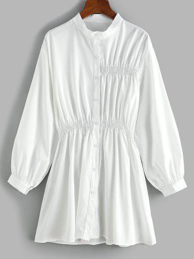 Smocked Waist Long Sleeve Shirt Dress - White S