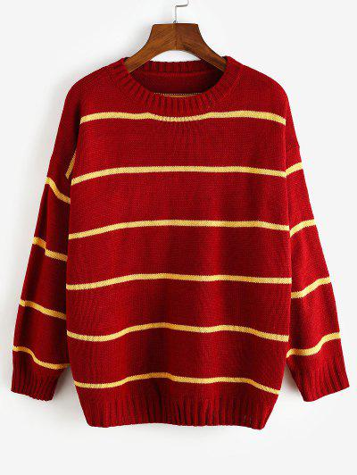 Striped Drop Shoulder Loose Sweater - Red