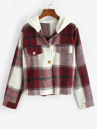 Plaid Contrast Fleece Hooded Button Up Jacket - Deep Red L