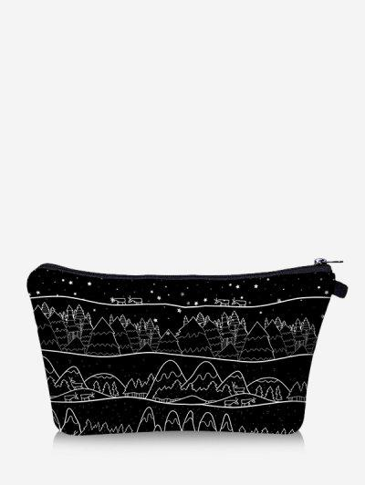 Christmas Printed Trees Makeup Bag - Black