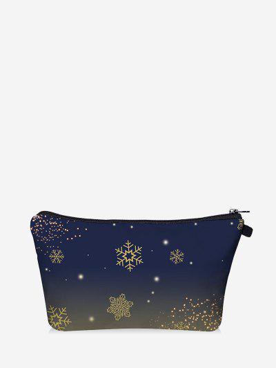 Christmas Snowflake Print Makeup Bag - Dark Slate Blue