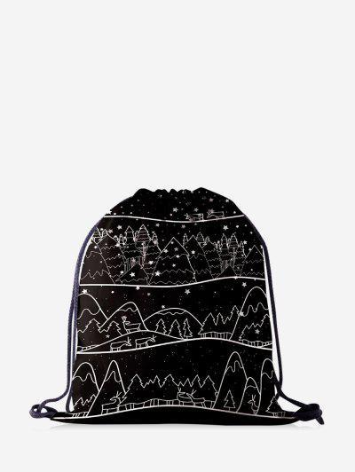Christmas Drawing Trees Print Cinch Bag - Black