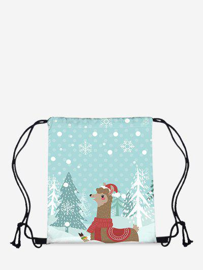Christmas Cartoon Alpaca Print Cinch Bag - Light Sky Blue