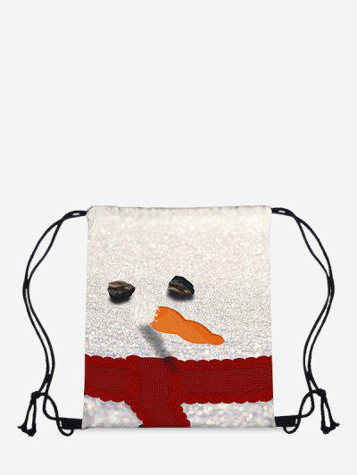 Christmas Snowman Print Cinch Bag - Milk White