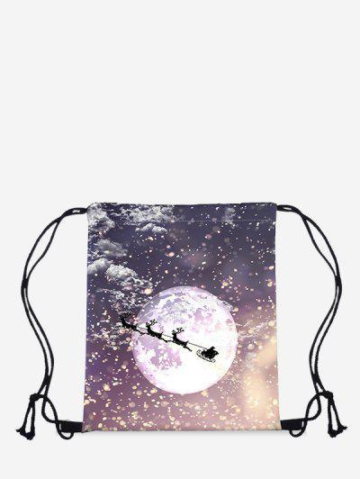 Christmas Moon Elk Print Cinch Bag - Dark Slate Blue