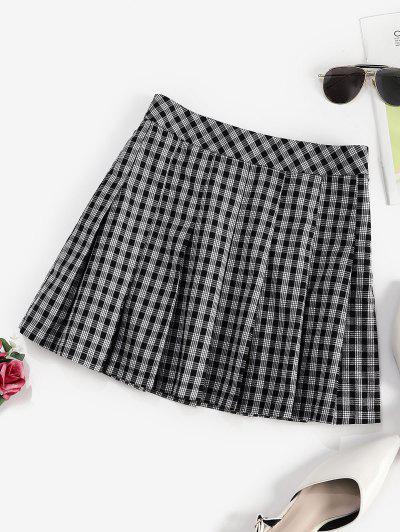 ZAFUL Plaid Preppy Pleated Mini Skirt - Black S