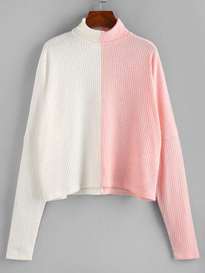 ZAFUL Colorblock Dolman Sleeve Sweater - White S