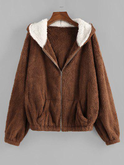 ZAFUL Faux Fur Hooded Drop Shoulder Coat - Deep Coffee S