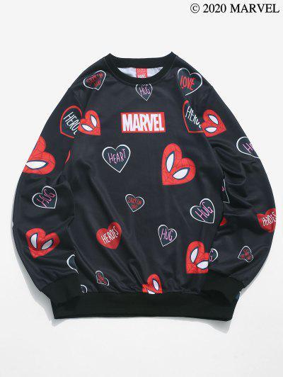 Marvel Spider-Man Heart Print Graphic Sweatshirt - Black L