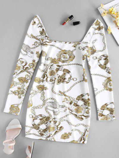 ZAFUL 3D Chain Print Mini Bodycon Dress - White S