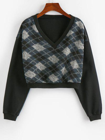 ZAFUL  V Neck Argyle Cropped Sweatshirt - Black M