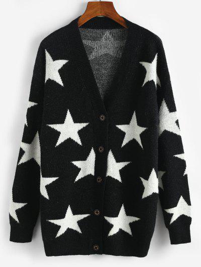 Star Drop Shoulder Button Up Cardigan - Black