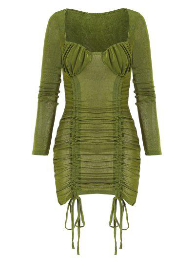 Vestido Cuello Alto Manga Larga Fruncido - Verde Oscuro M