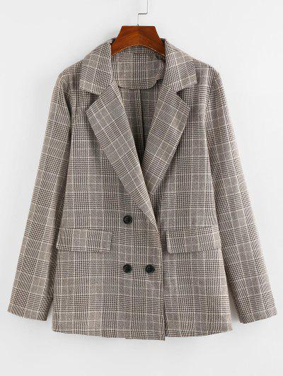 ZAFUL Lapel Glen Check Double Breasted Blazer - Khaki L