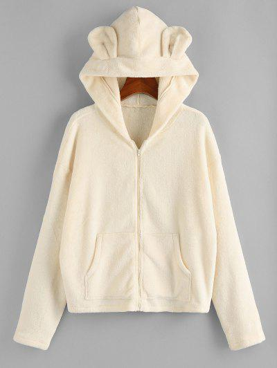 ZAFUL Plush Bear Ear Hooded Drop Shoulder Coat - Beige M