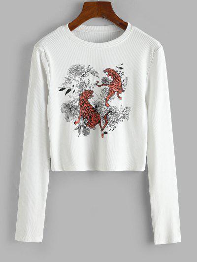 Rib-knit Tiger Floral Print Top - White M