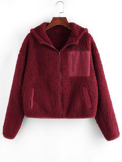 ZAFUL Pockets Hooded Teddy Coat - Red Wine S