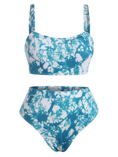 ZAFUL Plus Size Tie Dye Ribbed Bikini Swimwear - Blue Xl