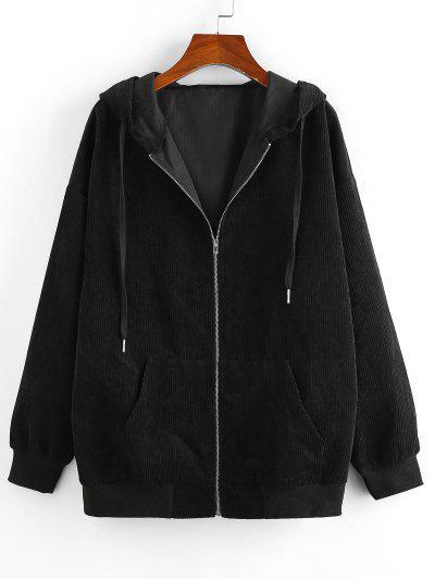 ZAFUL Ribbed Pockets Hooded Jacket - Black L