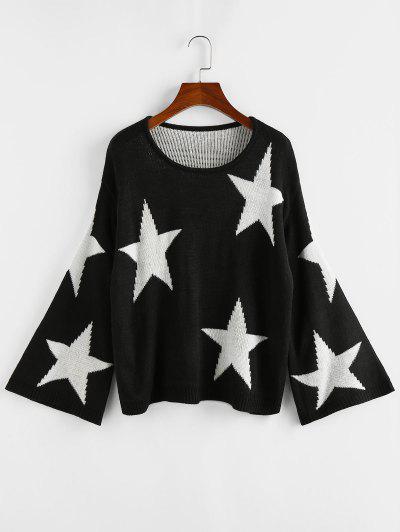 ZAFUL Star Flare Sleeve Jumper Sweater - Black L