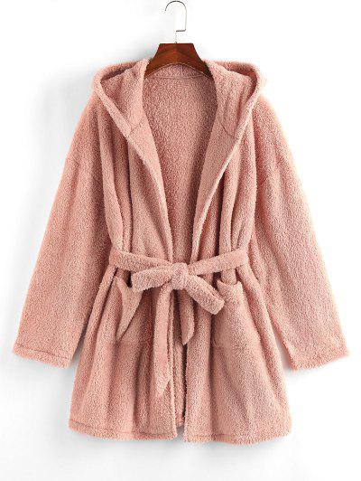 ZAFUL Drop Shoulder Hooded Belted Plush Robe - Rose M