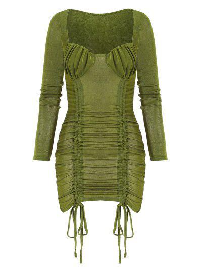 Geschnürtes Bodycon Kleid Mit Rüschen - Dunkelgrün L