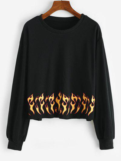 Flame Print Raw Hem Sweatshirt - Black S