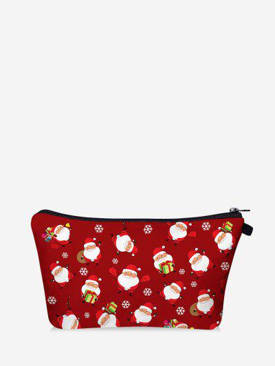 Christmas Santa Printing Makeup Bag - Red