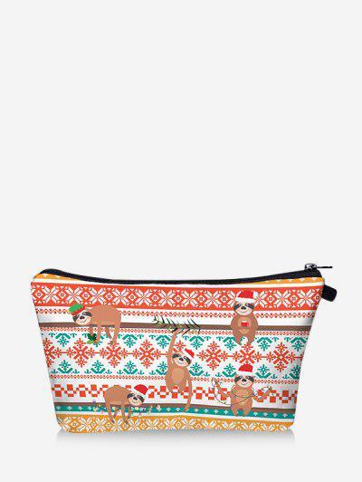 Christmas Animal Snowflake Print Makeup Bag - Chestnut Red