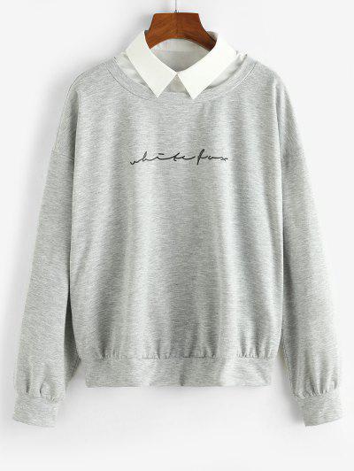 ZAFUL Shirt Collar Graphic Front Combo Sweatshirt - Light Gray S