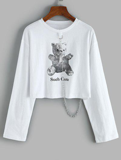 Cropped Such Cute Bear Chain Sweatshirt - White L