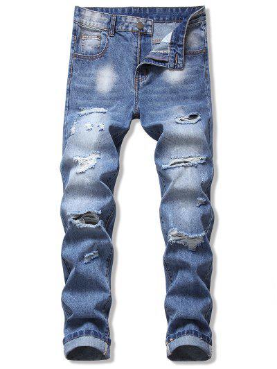 Destroy Wash Zip Fly Jeans