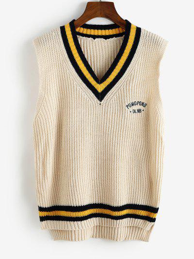 Striped Letter Embroidered High Low Sweater Vest - Light Yellow