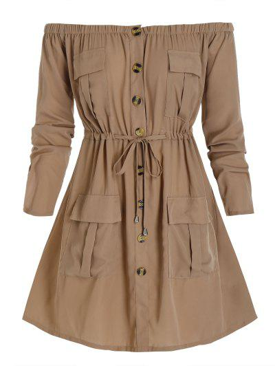 Plus Size Off Shoulder Drawstring Cargo Shirt Dress - Camel Brown L