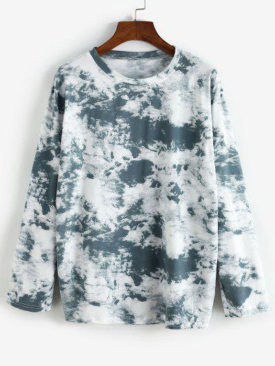 Long Sleeve Tie Dye Tee - Blue Gray M