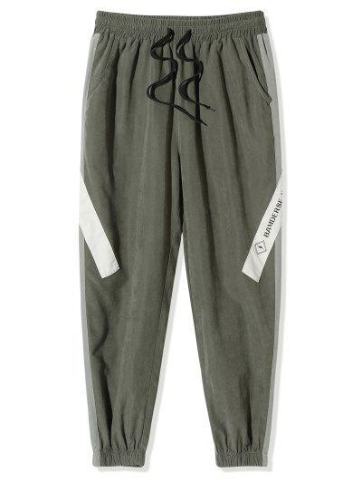 Buchstabe Muster Farbblock Beam Füße Hose - Armeegrün L