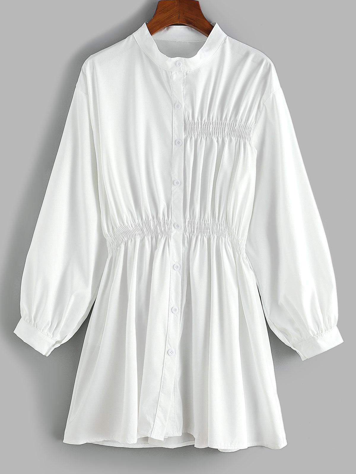 Robe Chemise Taille Plissée à Manches Longues - ZAFUL - Modalova