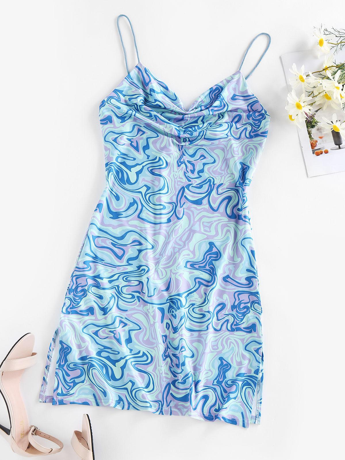 ZAFUL  Liquid Tripp Print Cowl Neck Mini Dress