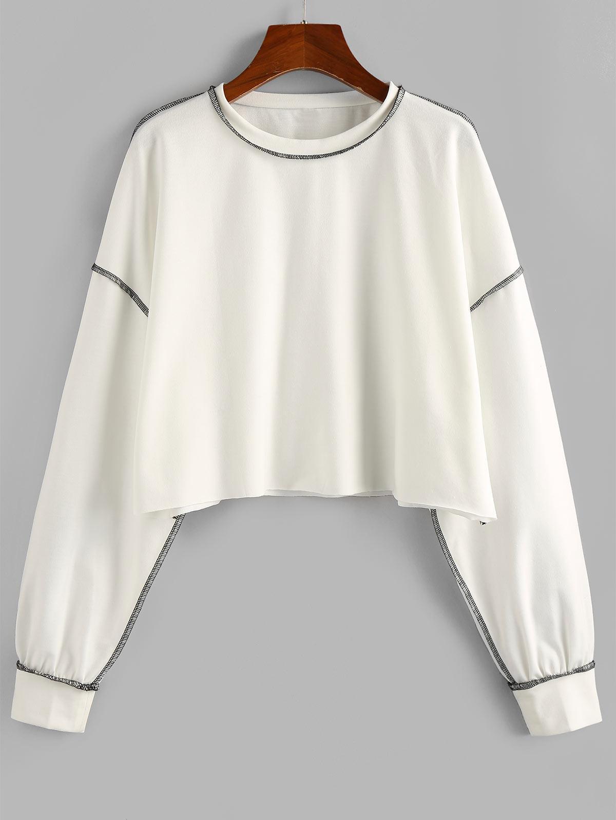 Sweat-shirt Court Cousu Contrasté - ZAFUL - Modalova